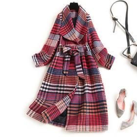 OLSZ16062新款时尚时尚翻领长袖长款经典格子羊毛呢大衣外套TZF