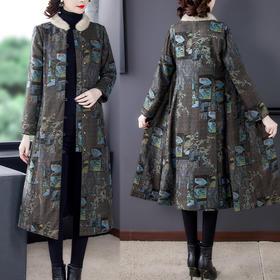 AHM-qyy9847新款时尚优雅气质立领长袖长款印花夹棉外套TZF