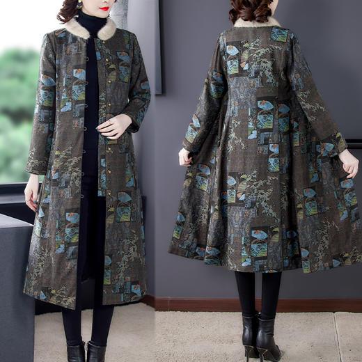 AHM-qyy9847新款时尚优雅气质立领长袖长款印花夹棉外套TZF 商品图0