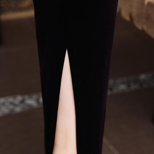 YZL657新款优雅气质修身立领长袖长款开叉金丝绒刺绣旗袍TZF 商品图4