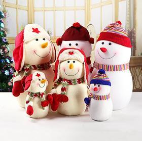 【装饰】*圣诞装饰品雪人公仔 毛绒娃娃摆件圣诞树场景布置配件雷锋帽 | 基础商品