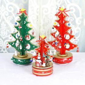 【装饰品】*圣诞装饰品摆件 桌摆旋转音乐圣诞树 柜台办公桌木制摆件儿童礼物 | 基础商品