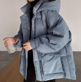 【女羽绒服】*五色/ 韩版雾面90白鸭绒女士连帽温暖加厚长袖面包简约净色羽绒服 | 基础商品