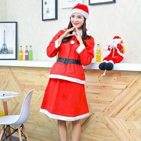 【装饰品】*圣诞服饰套装圣诞老人服装普通无纺布圣诞女裙四件套 | 基础商品