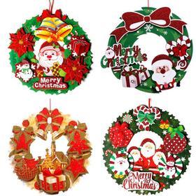 【装饰品】*圣诞节装饰品  立体纸质闪粉花环 | 基础商品