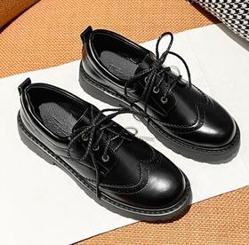 【女鞋】*冬季小皮鞋女布洛克雕花圆头系带休闲深口单鞋英伦风女鞋 | 基础商品