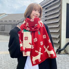 【为思礼】两面可佩戴  麋鹿针织毛线围巾女冬季保暖红色围巾