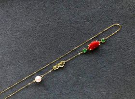 18K金镶嵌珊瑚手工花丝项链  两用款(1.76g)