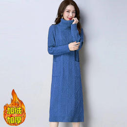 YYSFS新款时尚气质宽松高领长袖加绒加厚长款针织连衣裙TZF