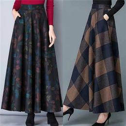 PDD-YYFFS201218新款时尚气质高腰长款格子毛呢大摆半身裙TZF