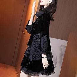 HT5580新款轻奢名媛大码遮肚显瘦高贵洋气丝绒连衣裙TZF