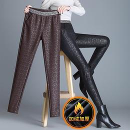 HT-GR-241-5120新款时尚气质高腰蕾丝紧身加绒加厚小脚皮裤TZF