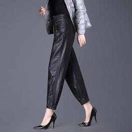 SY8101新款时尚气质休闲宽松高腰加薄绒九分哈伦皮裤TZF