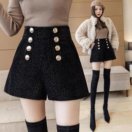 PDD-AHYG201231新款时尚气质百搭高腰双排扣阔腿雪尼尔亮丝短裤TZF