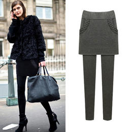 OMW4010新款时尚气质加绒加厚保暖假两件小脚裤裙裤TZF