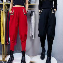 PDD-YMT210104新款韩版时尚休闲宽松百搭高腰束脚灯笼裤TZF