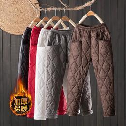 PDD-HSQJD210107新款时尚气质宽松菱格加厚夹棉保暖直筒哈伦裤TZF