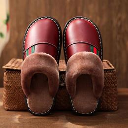 PDD-WNL210107新款居家牛筋底防滑加厚保暖皮棉拖鞋TZF