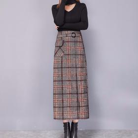 PDD-YLSS210113新款时尚气质中长款开叉格子毛呢半身裙TZF
