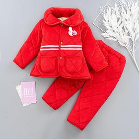 PDD-XSGTZ210115新款冬季儿童加厚三层夹棉保暖珊瑚绒家居服套装TZF