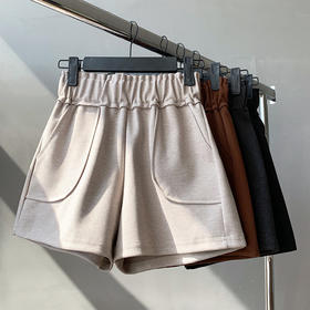 LRDZ-FA071新款时尚气质宽松高腰毛呢阔腿短裤TZF