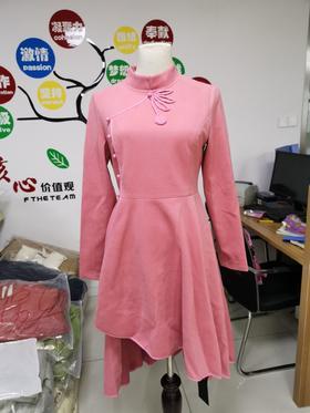 【清仓特价 不退不换】16  优雅气质收腰立领长袖中长款连衣裙
