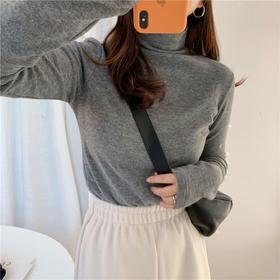 PDD-YYNZ210123新款时尚气质修身百搭半高领长袖磨毛加绒加厚保暖打底衫TZF
